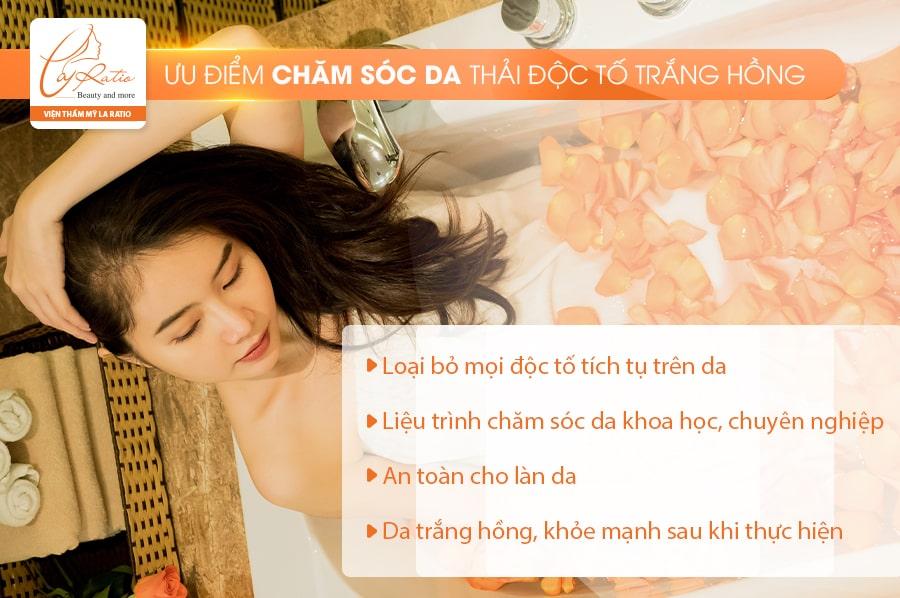 Phương pháp chăm sóc da, thải độc tố trắng hồng da sở hữu nhiều ưu điểm nổi trội